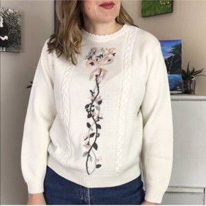 Vintage Cream | Pink Floral Embroidered Sweater